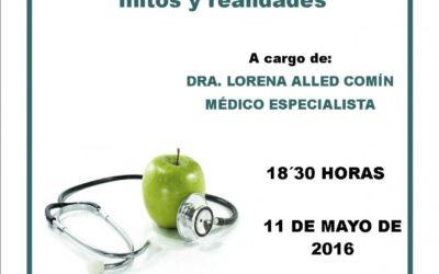 PRÓXIMA CHARLA SALUDABLE DE ADPLA: NUTRICIÓN ONCOLÓGICA: Mitos y Realidades. Dra.Lorena Alled